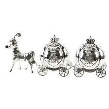 """SILVER HORSE CINDERELLA CARRIAGE FIRST TOOTH/CURL"" - BABY/CHRISTENING GIFT"