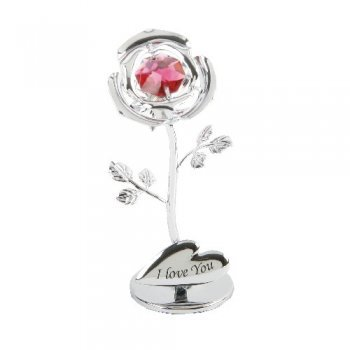 A CRYSTOCRAFT 'I LOVE YOU ROSE' CAKE TOPPER AND GIFT - SWAROVSKI CRYSTAL