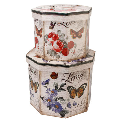 Delightful DECORATIVE STORAGE BOXES   SET OF TWO   BUTTERFLY LOVE OCTAGAN DESIGN