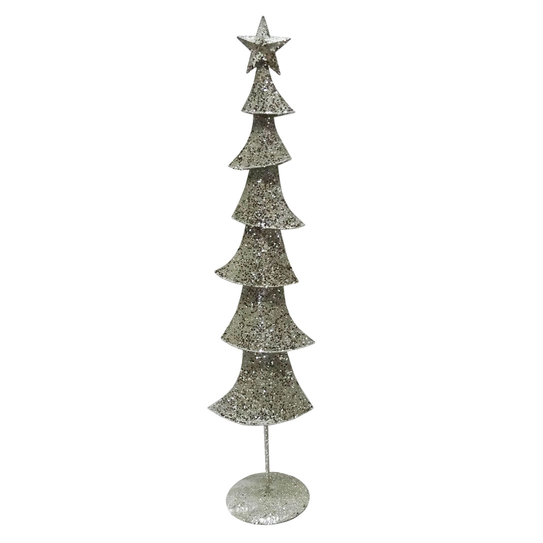 Large Champagne Silver Glittered Metal Christmas Tree