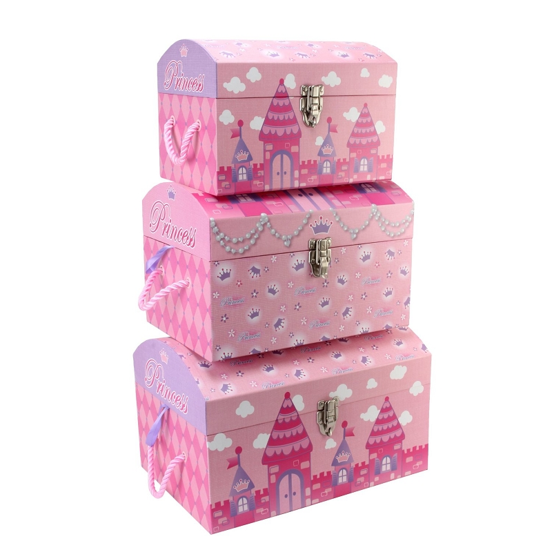 Little Girls Bedroom Accessory Princess Storage Trunks Set Of 3   Pink  Storage Boxes For Girls