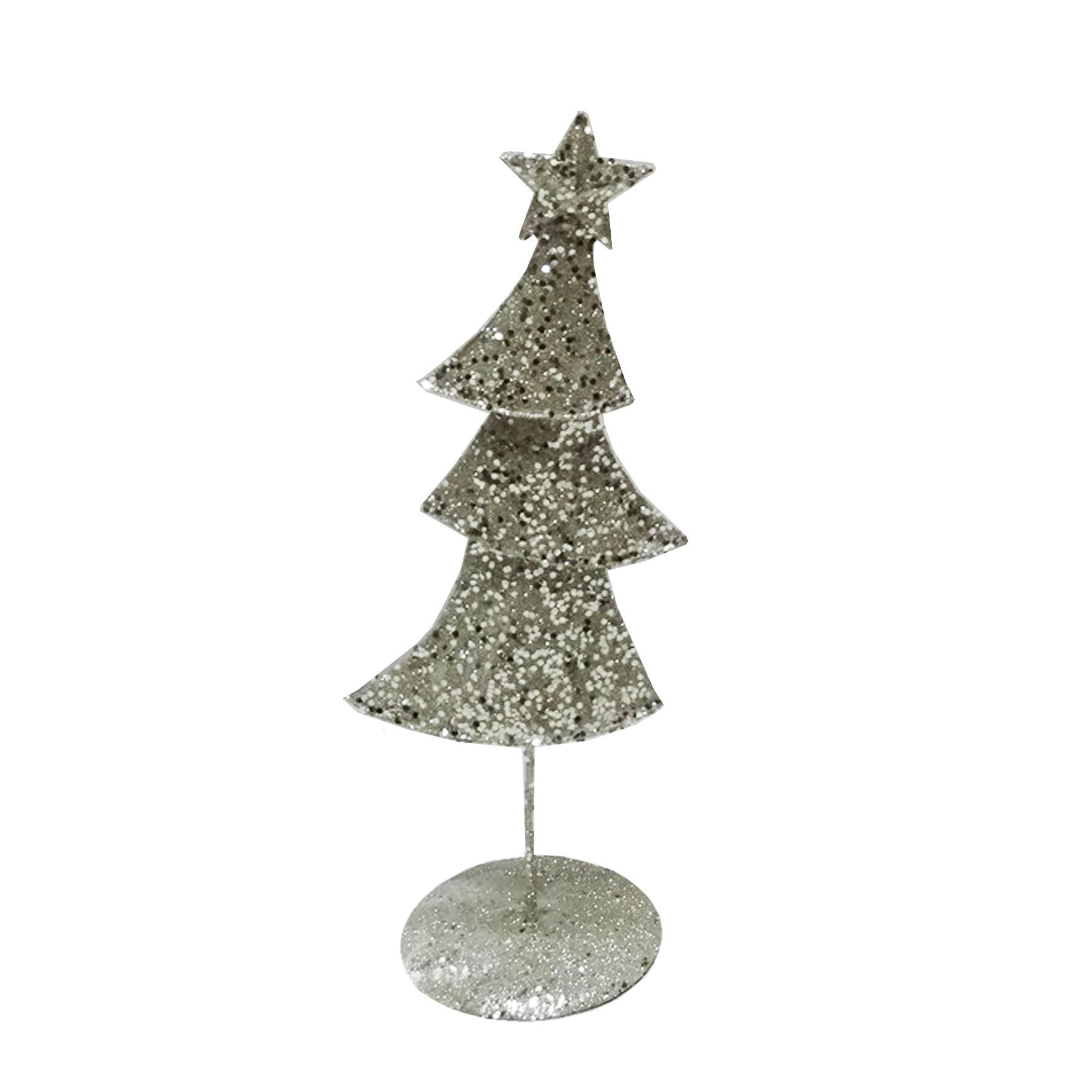 Metal Contemporary Christmas Ornament Champagne Silver