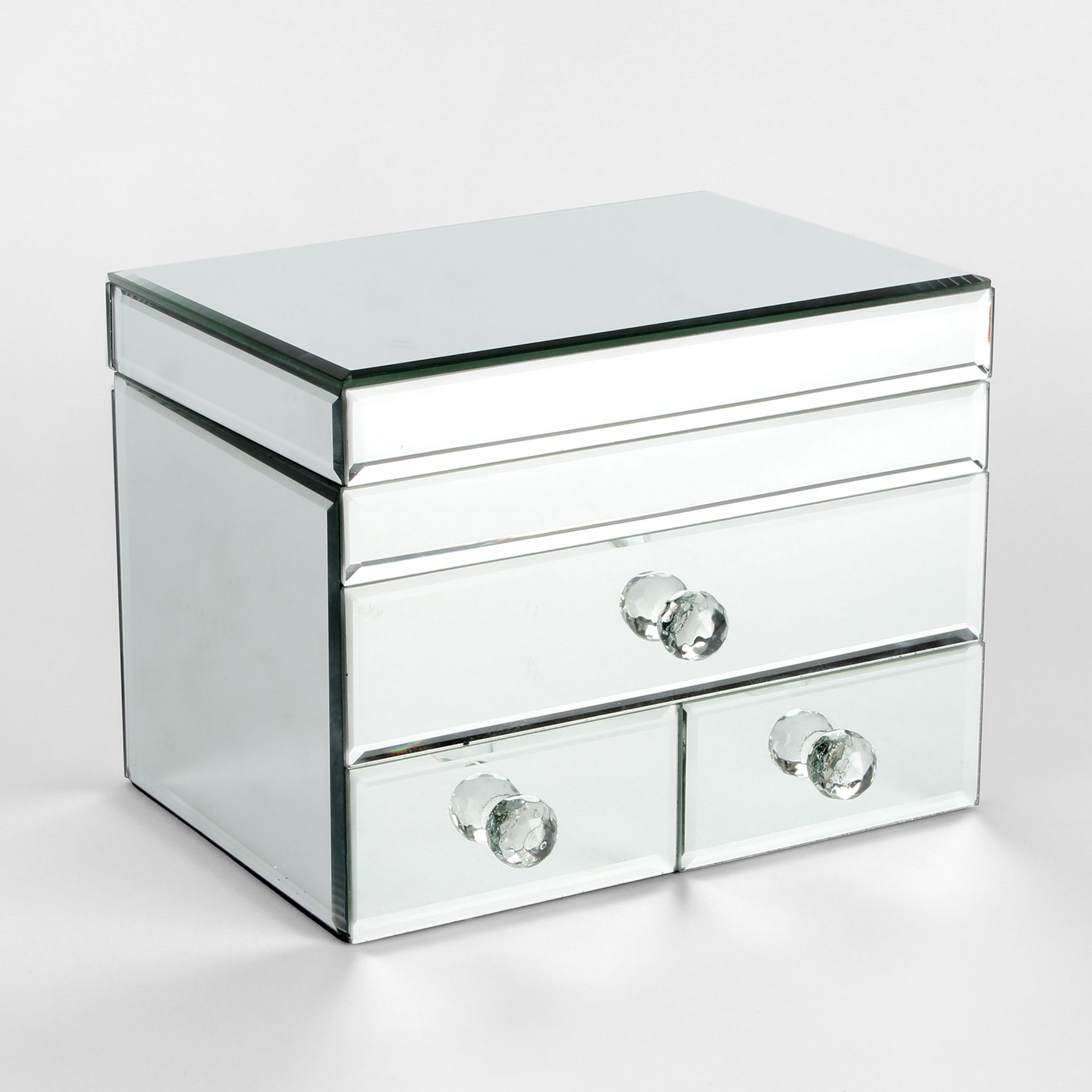 Mirror glass jewellery box with 3 drawers ladies gift negle Image collections