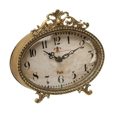 OLD FASHIONED STYLE FILIGREE MANTEL CLOCK - SHABBY CHIC MANTEL CLOCK