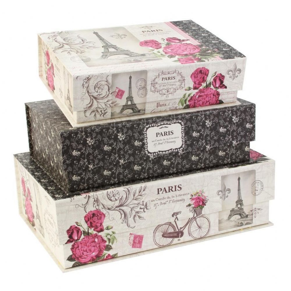 paris romance by tri coastal designs pretty storage boxes. Black Bedroom Furniture Sets. Home Design Ideas