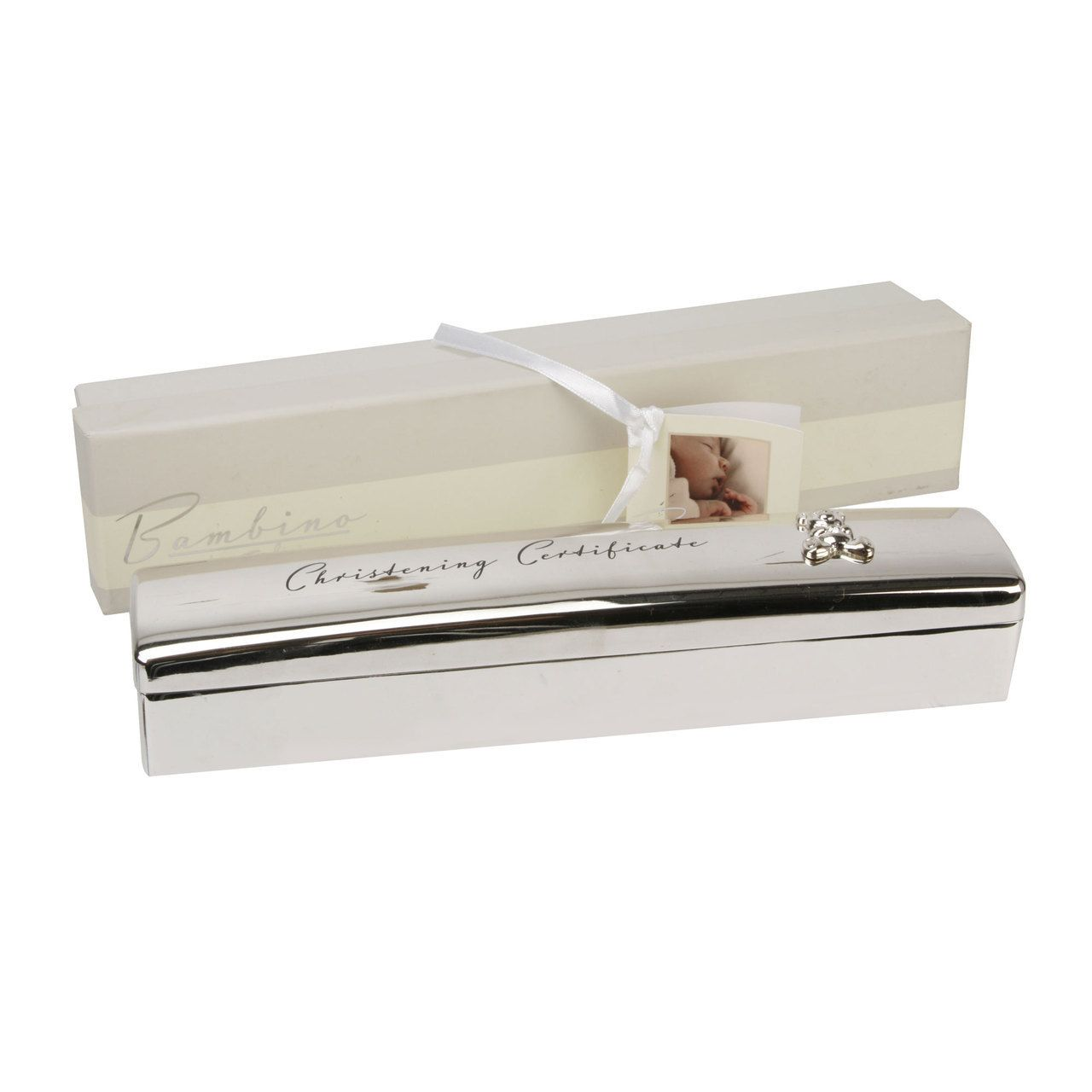 Silver Plated Baby Gifts Australia : Silver plated christening certificate box by bambino baby gift