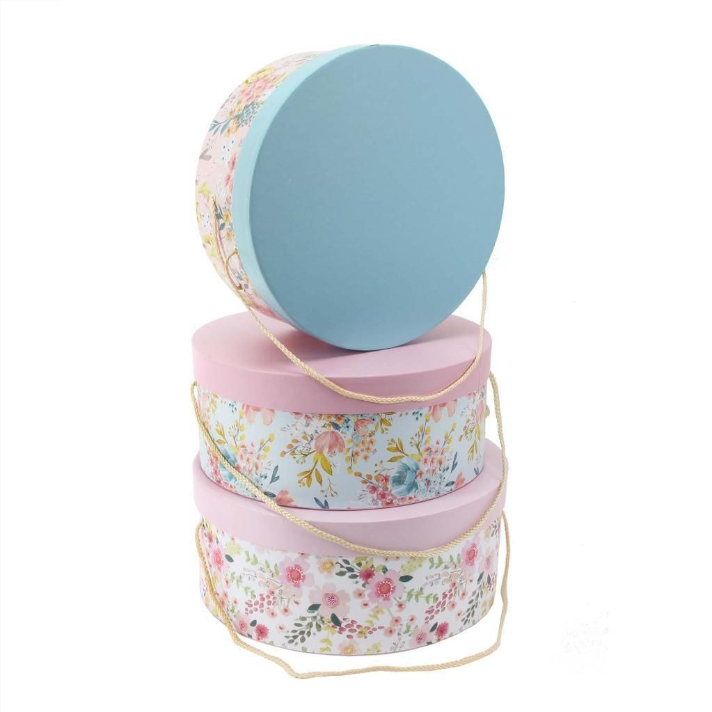 Stacking Hat Boxes   Set Of 3 Pretty Box Storage Boxes   Louise Tyler Designer  Storage