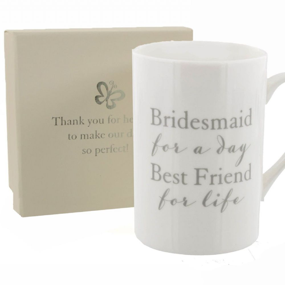 Wedding Gift For Best Friend Uk : Wedding Bridesmaid Thank You GiftWhite Cup Mug Inscribed With ...