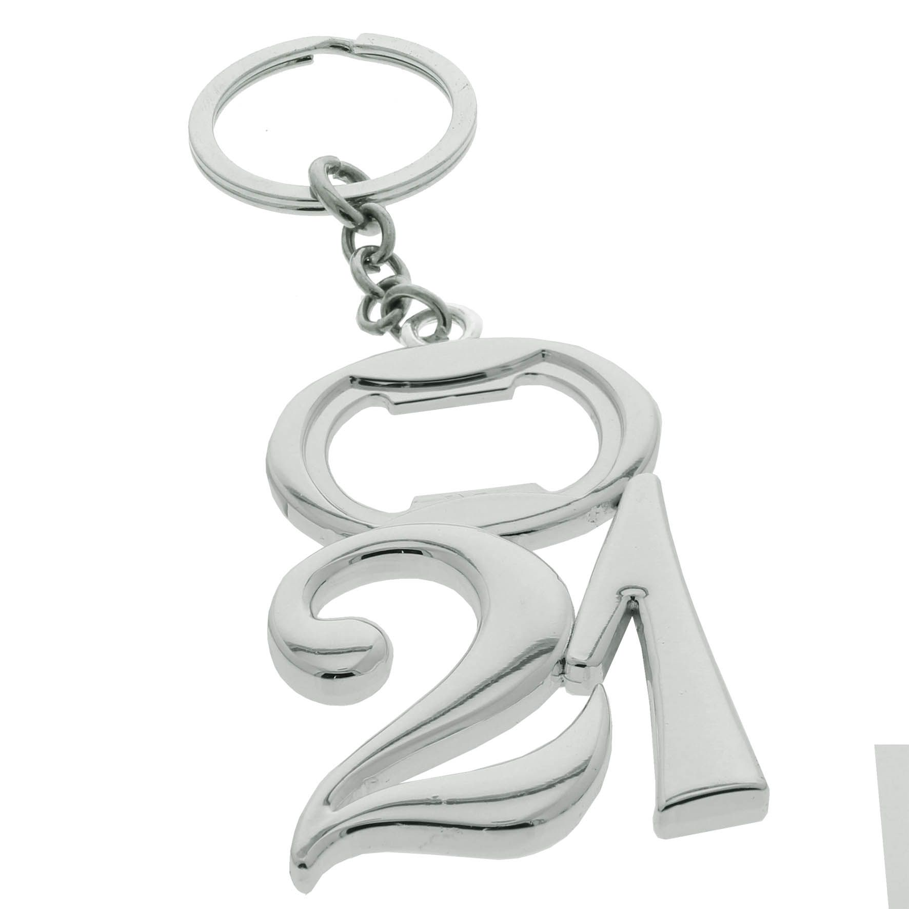 21st Birthday Keyring Bottle Opener Gift Silver Plated 21 In Box For 2804 P