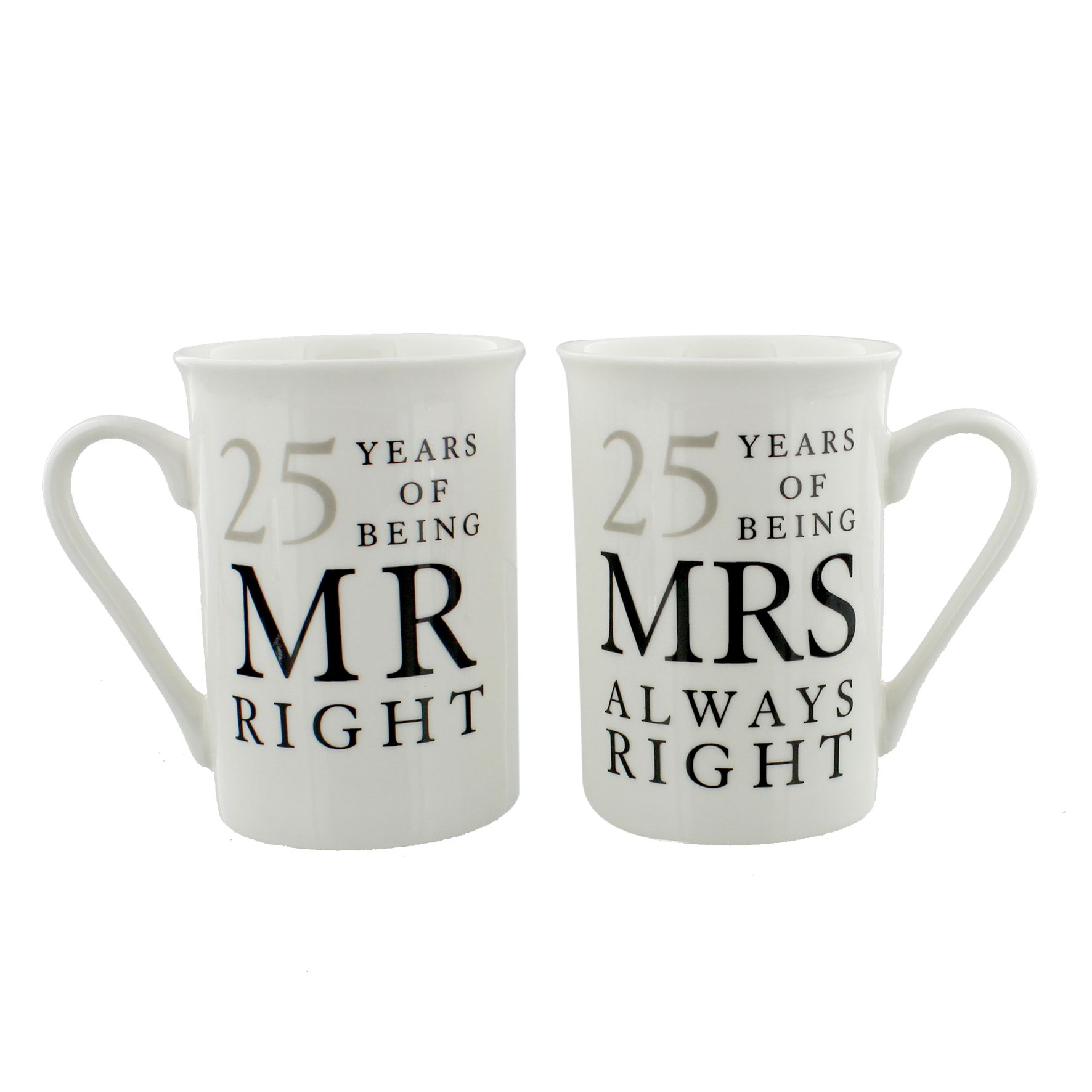 Ideas For 25th Wedding Anniversary Gift: 25th Silver Wedding Anniversary Mr & Mrs Mug Gift Set