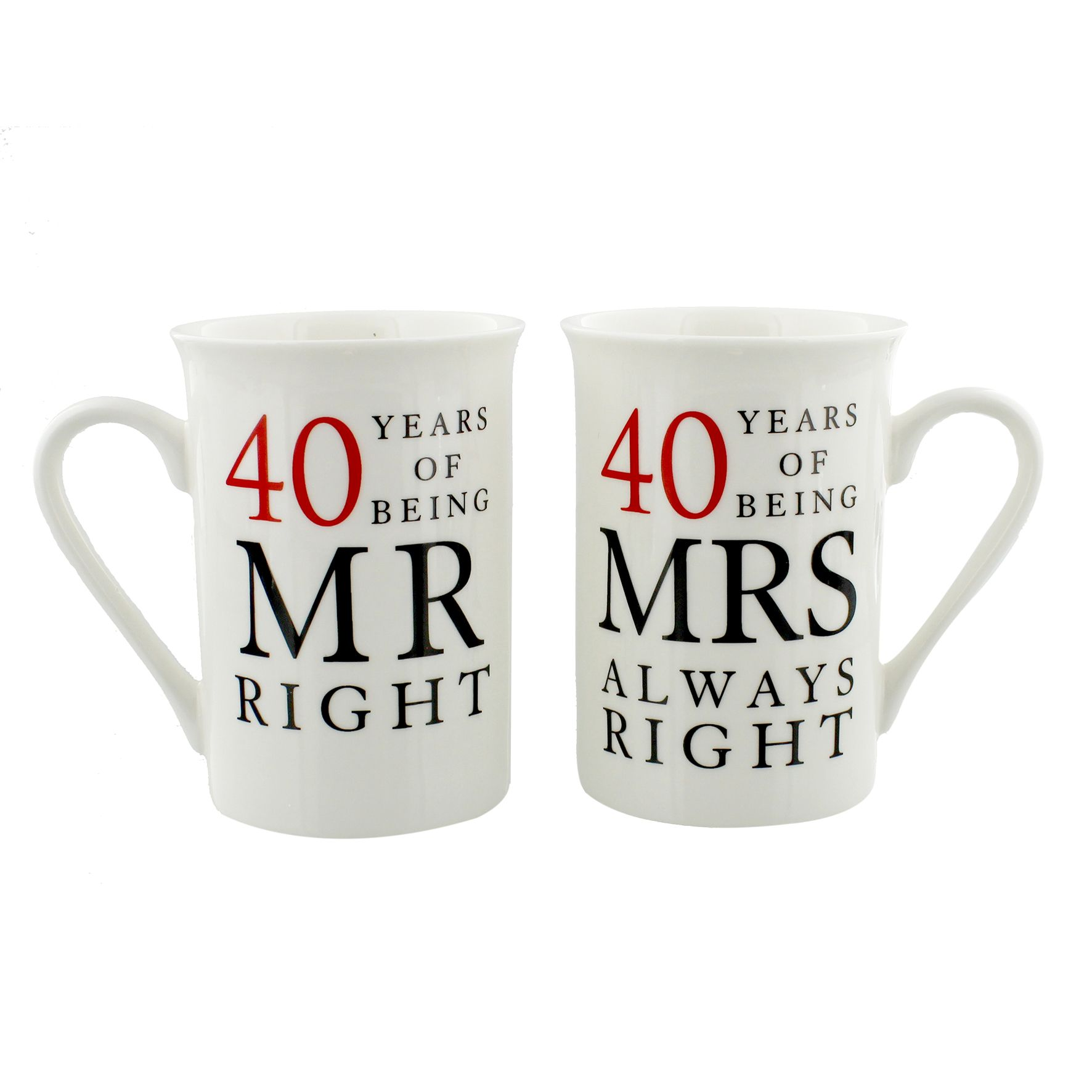 40th Ruby Wedding Anniversary Mr Mrs Mug Gift Set 40 Years Of