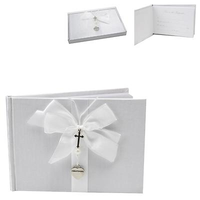 A CHRISTENING GUEST BOOK  - VERY SPECIAL GUEST BOOK WITH SILVER CROSS AND HEART