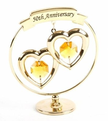 A CRYSTOCRAFT 50th GOLDEN ANNIVERSARY - CAKE TOPPER AND GIFT - SWAROVSKI CRYSTAL