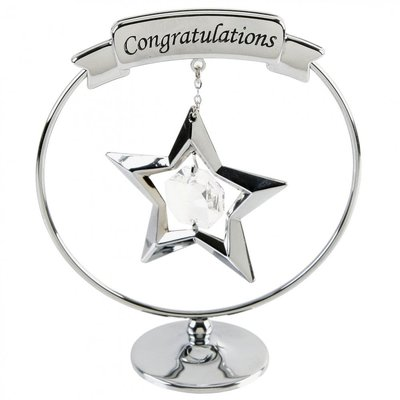 A CRYSTOCRAFT  'CONGRATULATIONS' CAKE TOPPER/KEEPSAKE - GRADUATION/ENGAGEMNT...