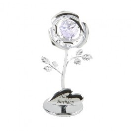 A CRYSTOCRAFT 'HAPPY BIRTHDAY' CAKE TOPPER/KEEPSAKE-  SWAROVSKI CRYSTAL