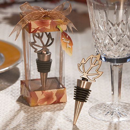 Autumn Leaf Bottle Stopper Table Gift Favor