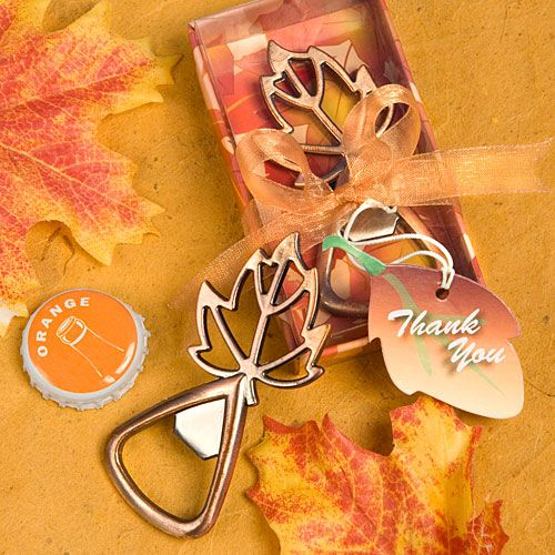 Autumn Woodland Leaf Bottle Opener Table Gift Favor
