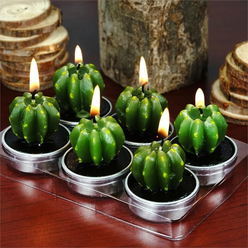 Cactus Candles Set Of 6 - Cactus Succulent Tea Light Candles Set of 6
