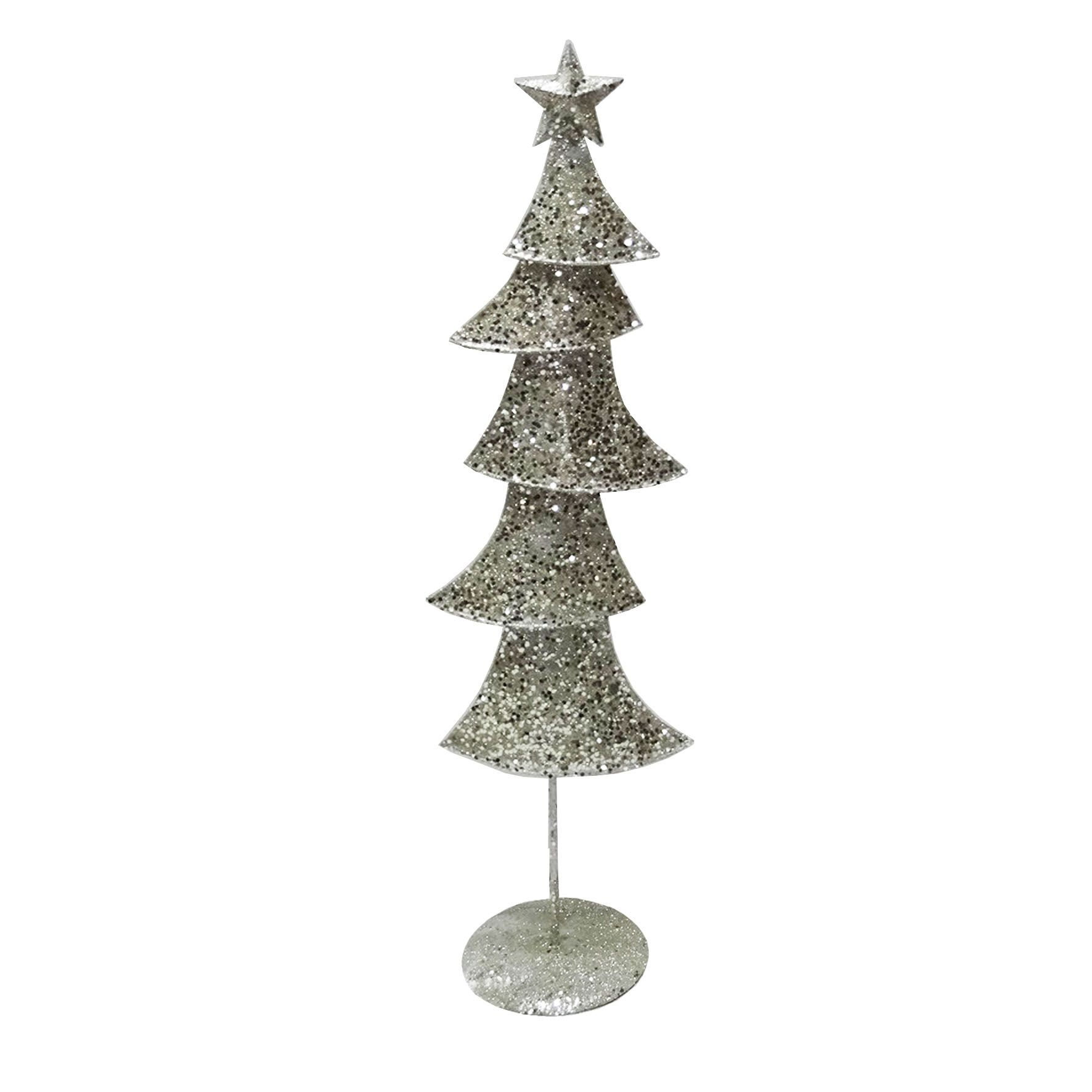 Champagne Silver Glittered Metal Contemporary Medium Christmas Tree ...
