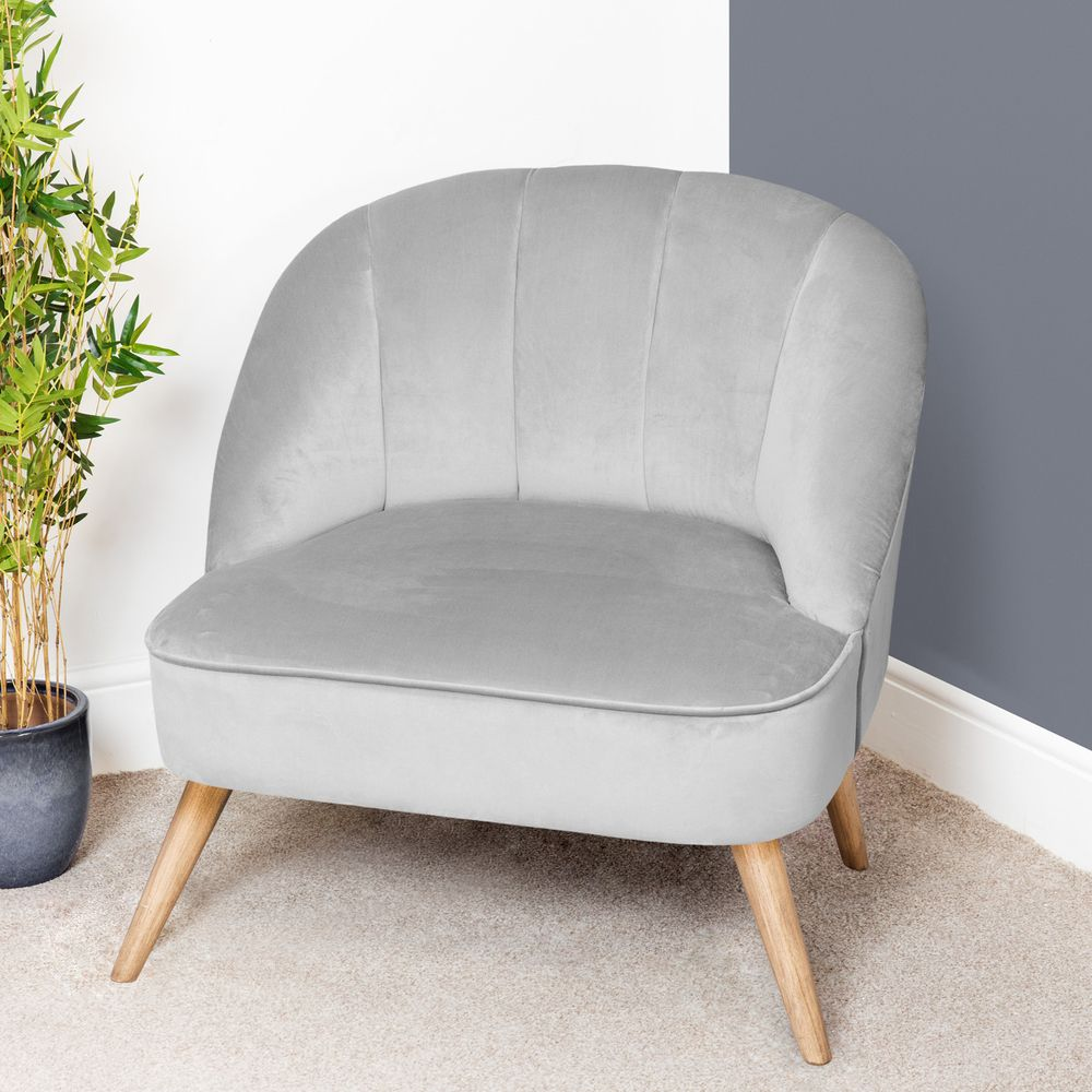 Cool Grey Velvet Occasional Lounge Or Bedroom Chair Contemporary Retro Tub Chair