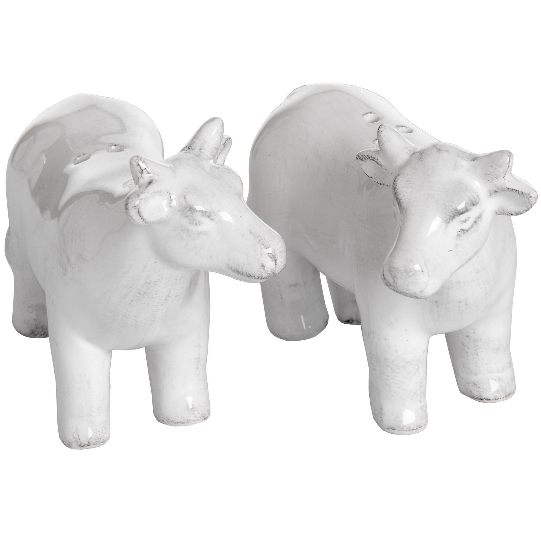 Cow Salt And Pepper Set White Ceramic Country Farmhouse Cow Salt And Pepper Pots
