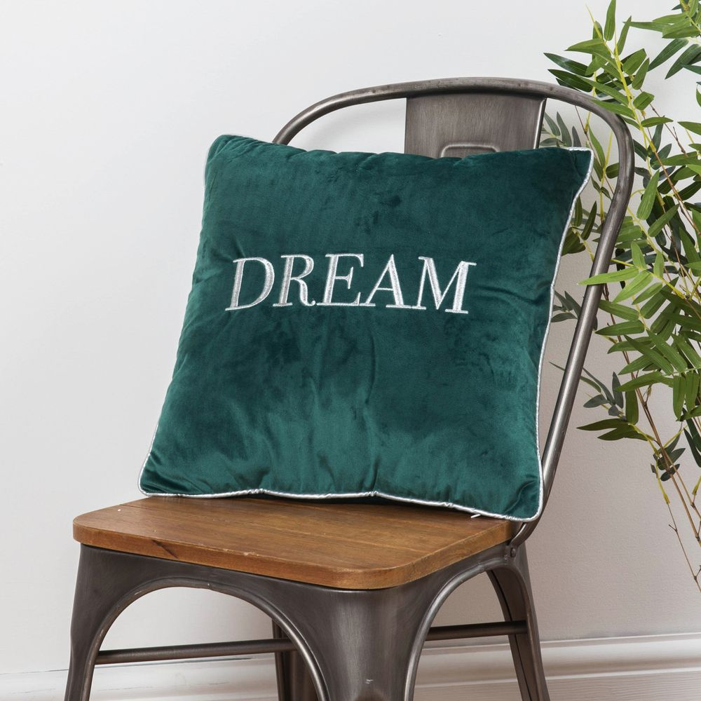 Dark Green Velvet Dream Cushion - Embroidered Scatter Cushion