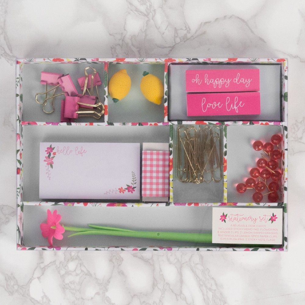 Ditsy Floral Essential Stationary Set - Floral Pink Stationary Essentials in Tray.  Office and home stationary essentials gift set.