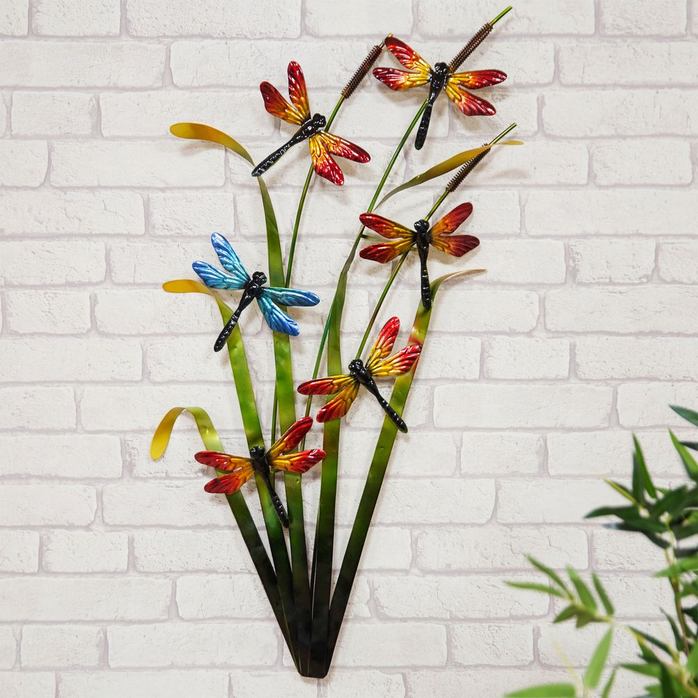 Dragonfly Metal Wall Art Ornament For Home and Garden.  Hand made colourful metal garden sculpture