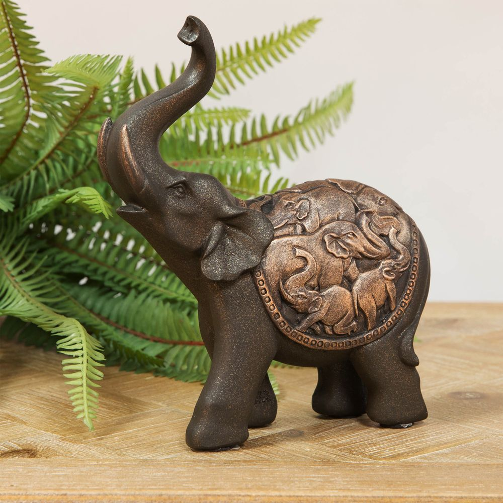 Wooden Carved Elephant Figurine With Raised Trunk Natural Color Ornaments Statue