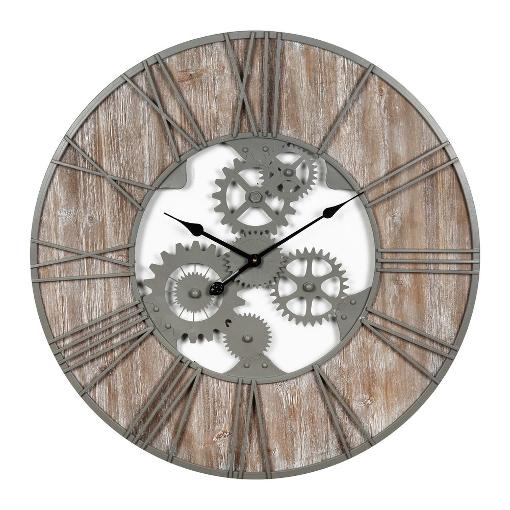 Extra Large Wood Metal Industrial Style Wall Clock 80cm Diameter