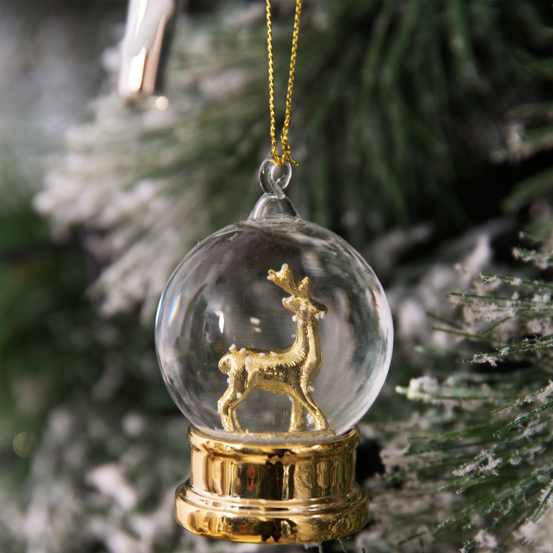 Gold Reindeer Christmas Tree Bauble Decoration Crystal ...