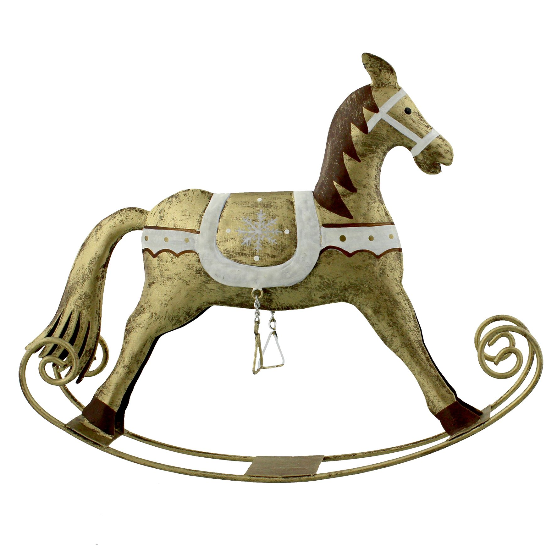 Golden Grandeur Golden Rocking Horse Christmas Ornament ...