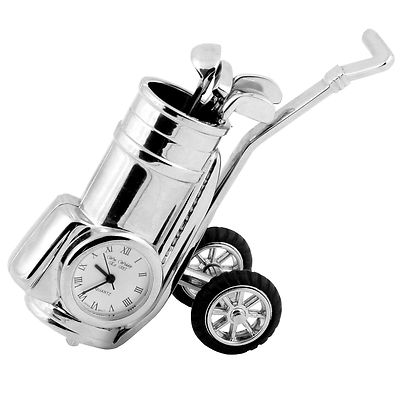 GOLF MINIATURE COLLECTORS CLOCK  SILVER GOLF TROLLEY WITH CLUBS