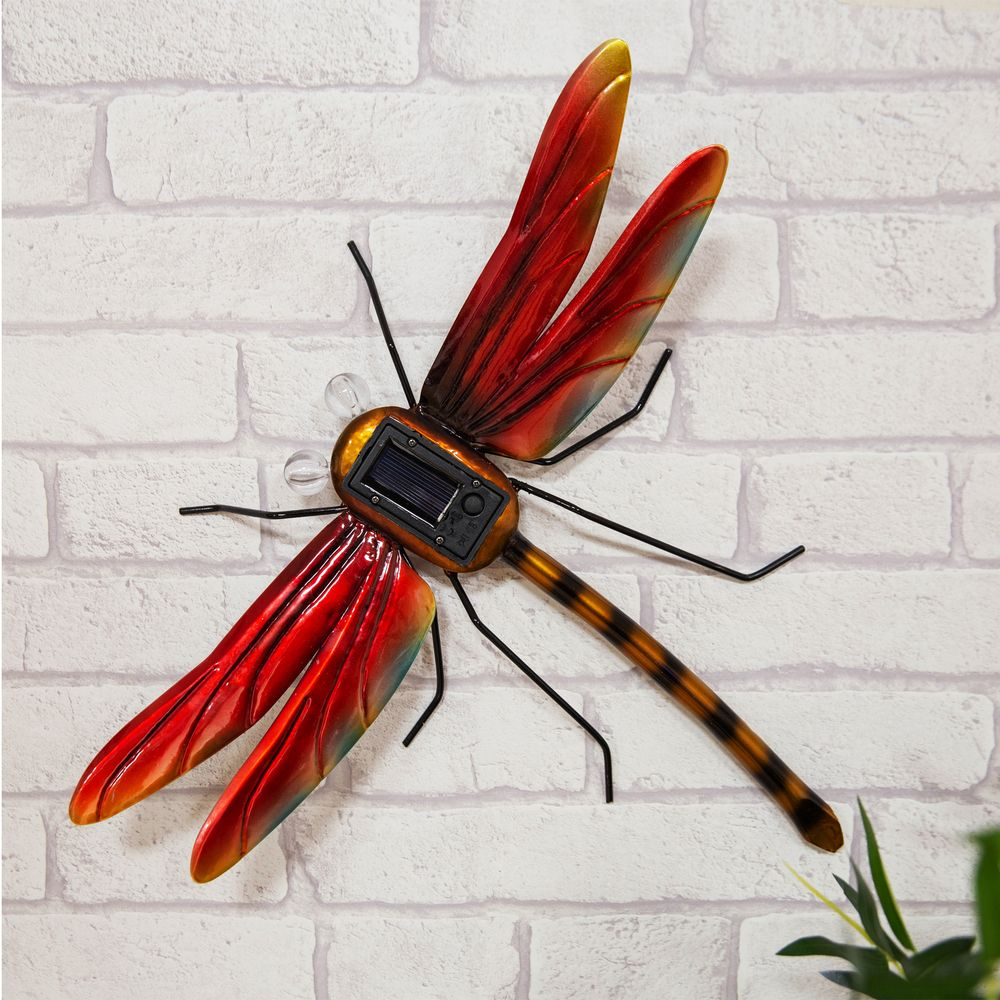 Hand Crafted Metal Dragonfly Garden Ornament With Solar Powered Lights.  Garden Wall Art.