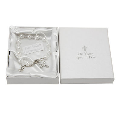 HOLY COMMUNION GIFTS - FIRST HOLY COMMUNION BRACELET - BRACELET WITH CROSS CHARM
