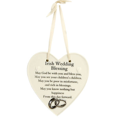 Irish Wedding Blessing - Ceramic Heart Shape Plaque - Wedding Blessing Gift