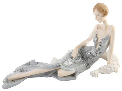 JULIANA BLENHEIM LADIES - ART DECO FIGURINE - SPARKLING SILVER - SITTING LADY 59544