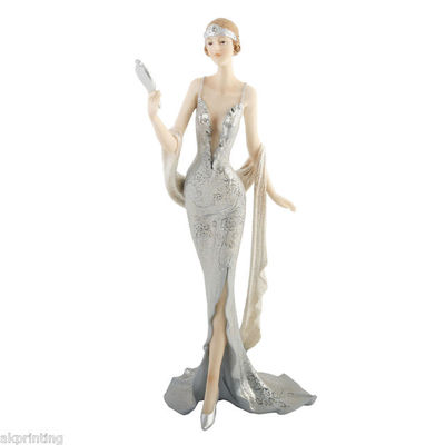 JULIANA BLENHEIM LADIES - DECO FIGURINE - SPARKLING SILVER - LADY HOLDING MIRROR