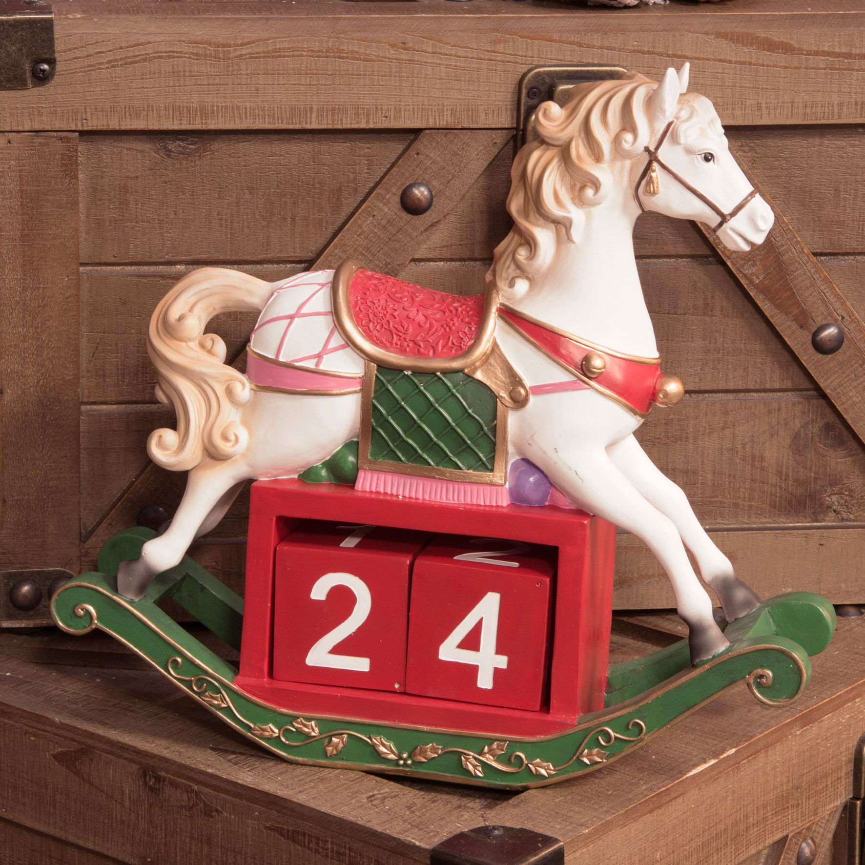 Christmas Horse Pictures.Large Christmas Rocking Horse Hand Painted Victorian Countdown To Christmas Traditional Decoration