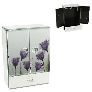 Large Hestia Mirror Jewellery Box - Purple & Mirror Glass Jewellery Cabinet