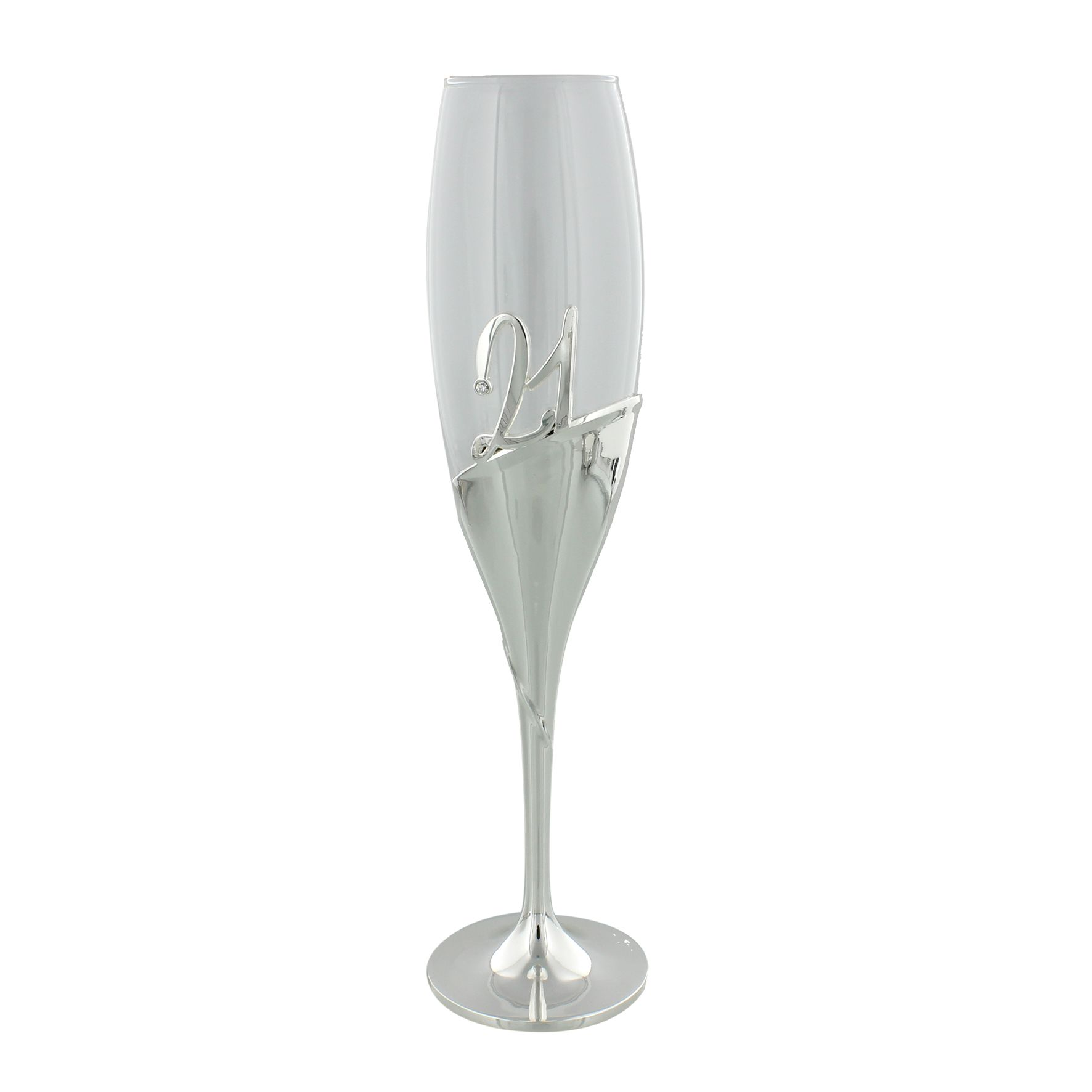 Luxury 21st Birthday Champagne Flute Keepsake Glass Silver Plated In Presentation Box For 2808 P