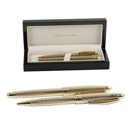 Luxury Gold Fountain Pen and Ballpoint Pen Set For Men - Heavy Gold Pen Set Gift For Men - Mens Christmas Presents
