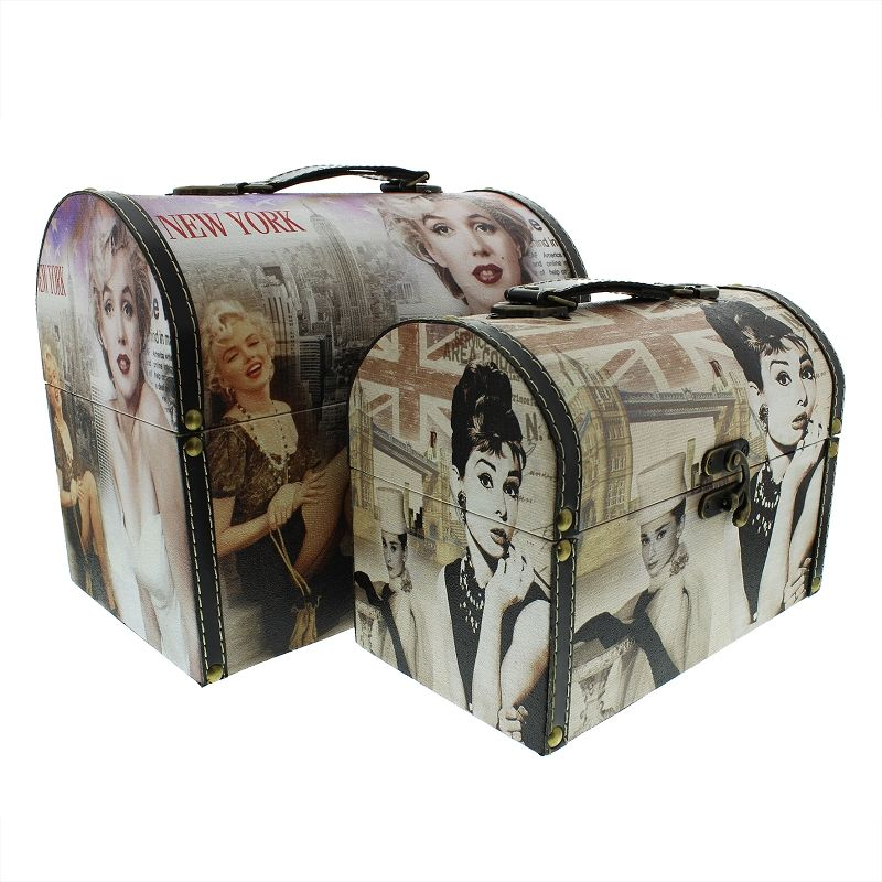 Marilyn Monroe and Audrey Hepburn Storage Vanity Cases - Hollywood Themed Decorative Storage Boxes