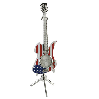MINIATURE COLLECTORS CLOCK STARS AND STRIPES ROCK GUITAR