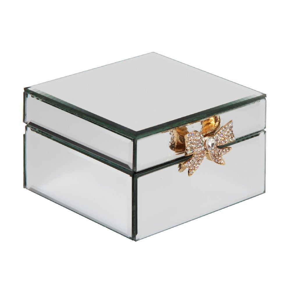 Mirror Glass Jewellery Box With Gold Bow Detail Ladies Gift
