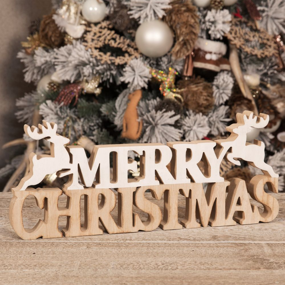 Merry Christmas Ornament Sign.Natural Rustic Merry Christmas Wooden Sign Mantel Plaque With Reindeers