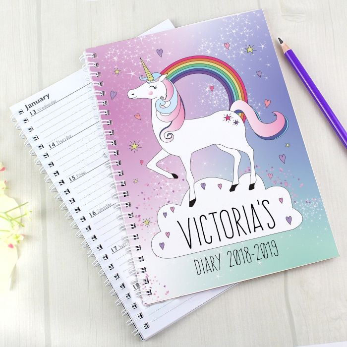 Personalised Back To School Unicorn Homework Diary And Planner