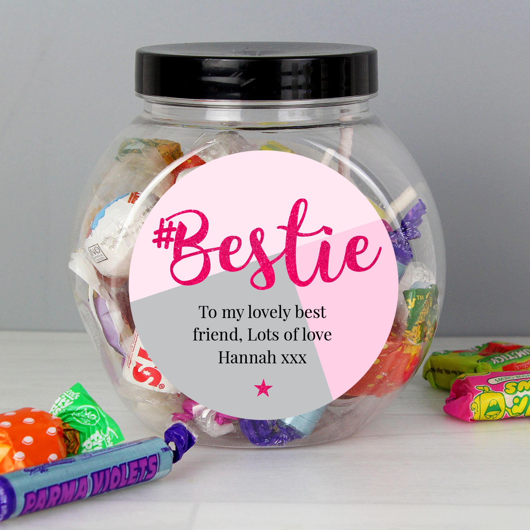 Personalised Bestie Sweet Jar Gift Idea For Best Friend Party Sleepover