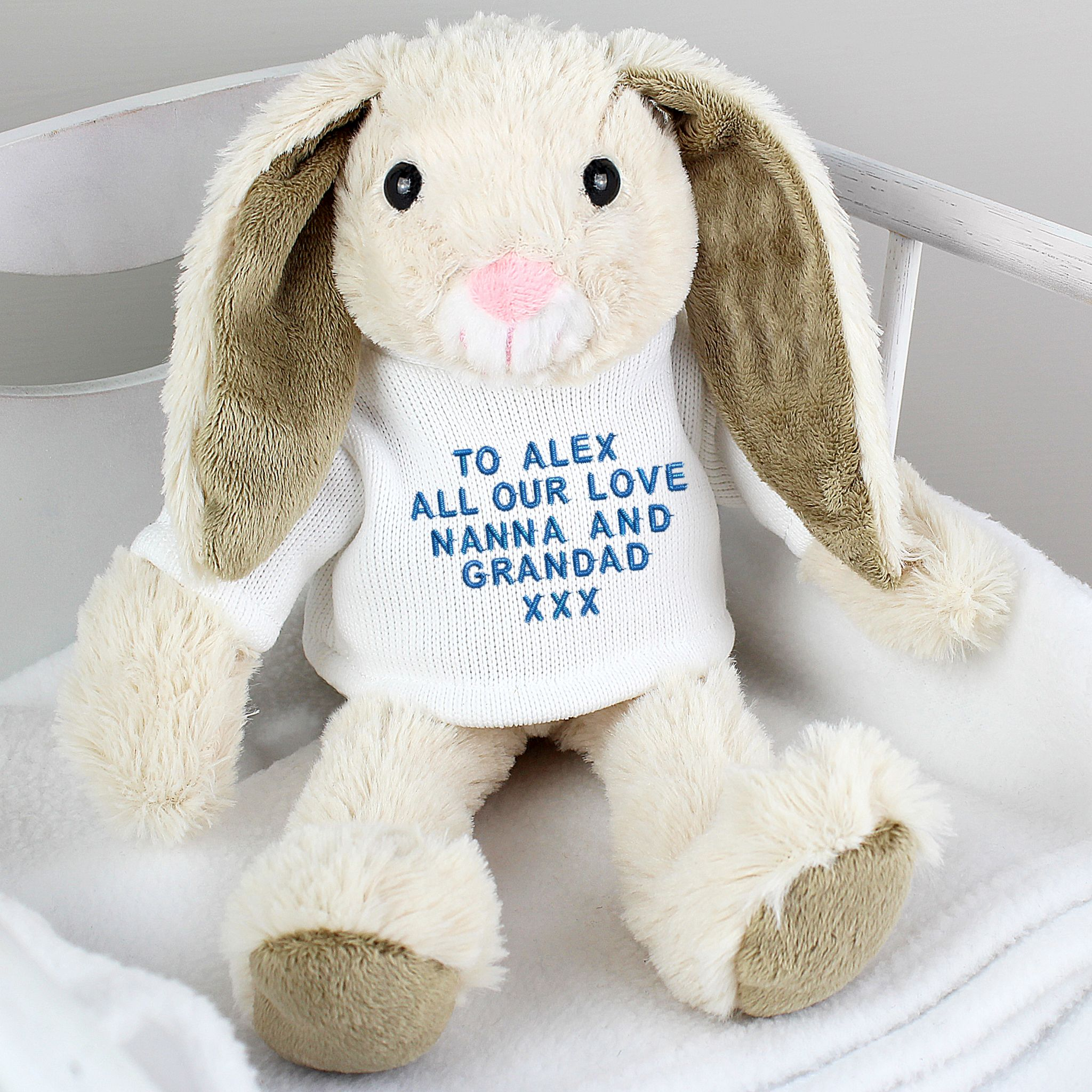 Personalised Cuddly Easter Bunny Gift With Blue Embroidery