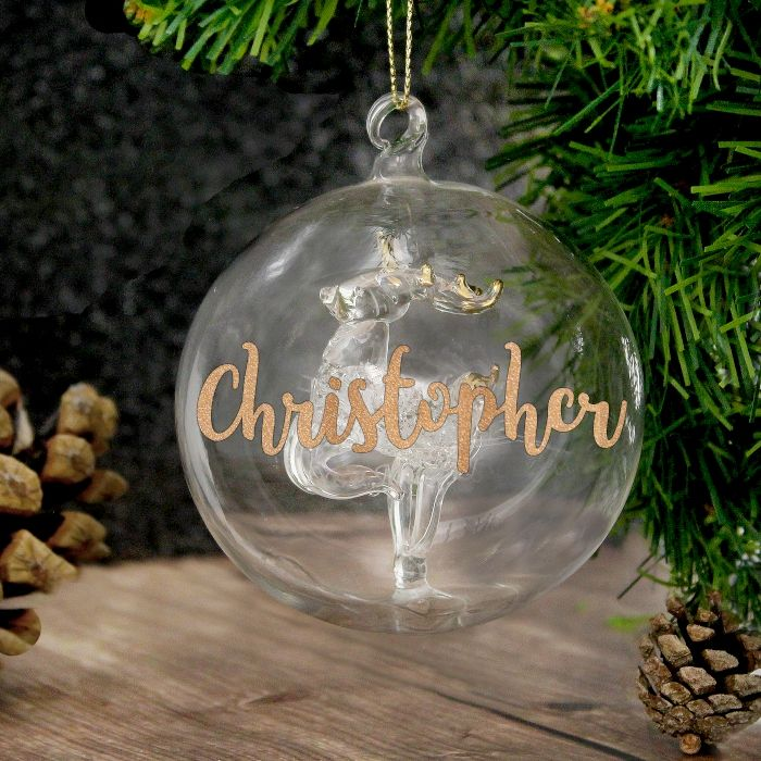Personalised Gold Glitter Glass Reindeer Bauble Gift For Christmas